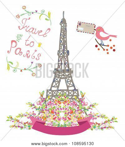 Travel To Paris Cute Poster With Flowers And Bird