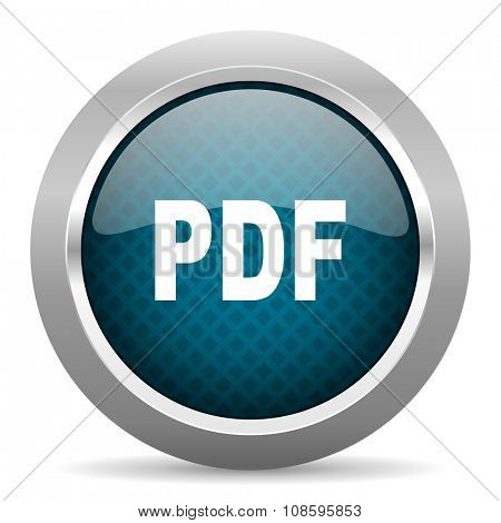 pdf blue silver chrome border icon on white background