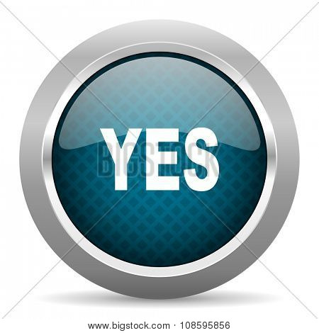 yes blue silver chrome border icon on white background