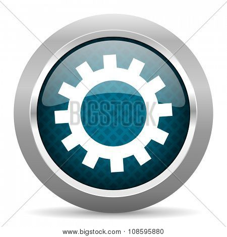 gear blue silver chrome border icon on white background