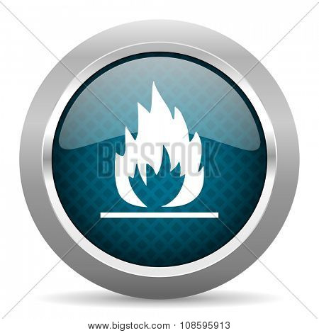 flame blue silver chrome border icon on white background