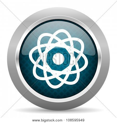 atom blue silver chrome border icon on white background