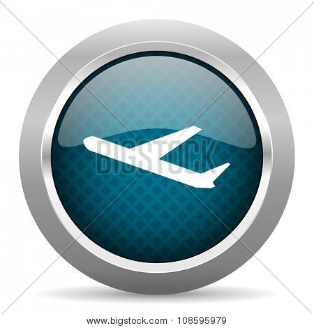 deparures blue silver chrome border icon on white background