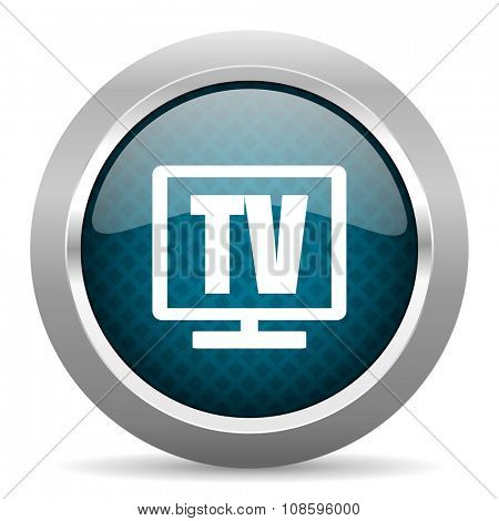 tv blue silver chrome border icon on white background