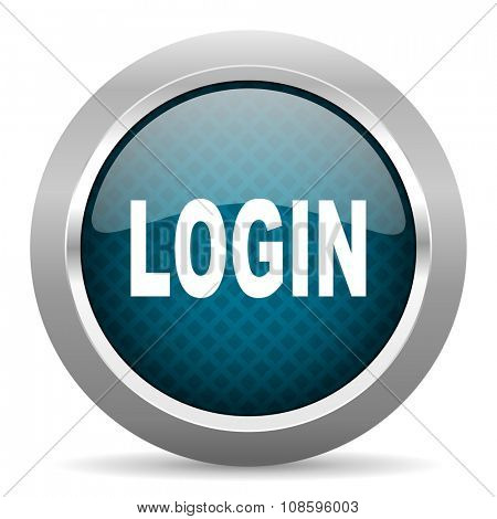login blue silver chrome border icon on white background
