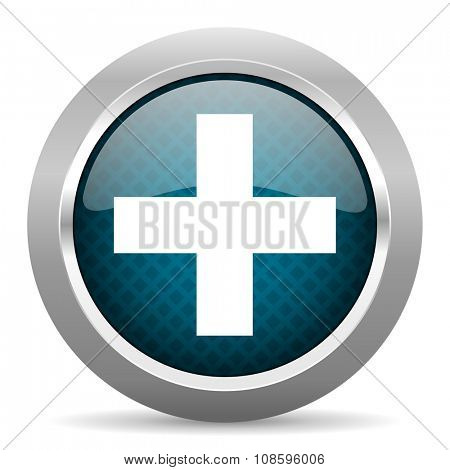 plus blue silver chrome border icon on white background
