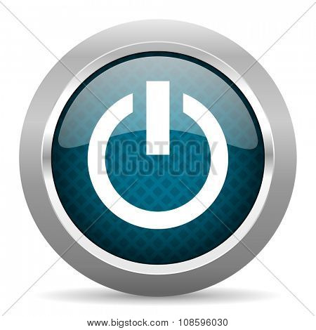 power blue silver chrome border icon on white background