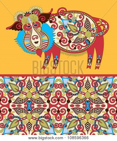 folk ethnic animal - wild boar with seamless geometry vintage pa