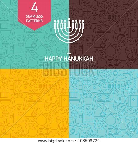 Thin Line Happy Hanukkah Holiday Patterns Set