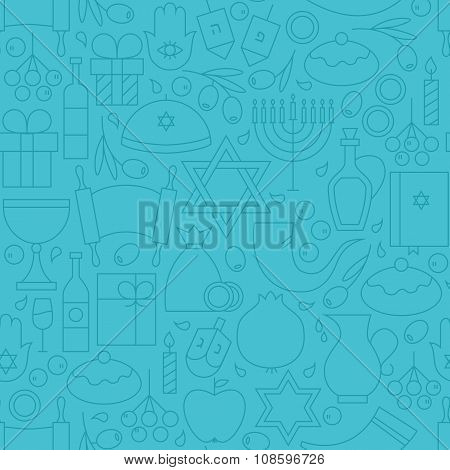 Thin Line Holiday Happy Hanukkah Blue Seamless Pattern