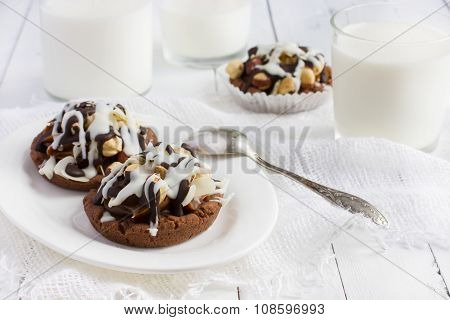 Chocolate Cookies With Cofee Cream, Nuts And Icing