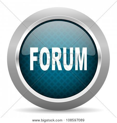 forum blue silver chrome border icon on white background