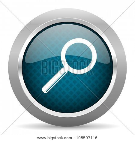search blue silver chrome border icon on white background