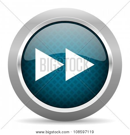 rewind blue silver chrome border icon on white background