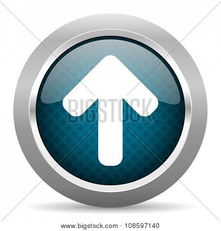 up arrow blue silver chrome border icon on white background