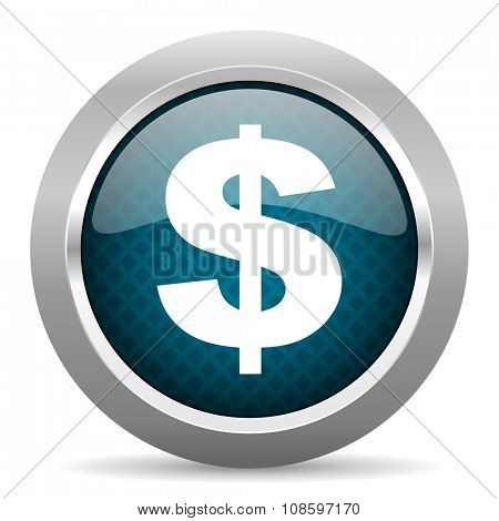 dollar blue silver chrome border icon on white background