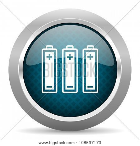 battery blue silver chrome border icon on white background