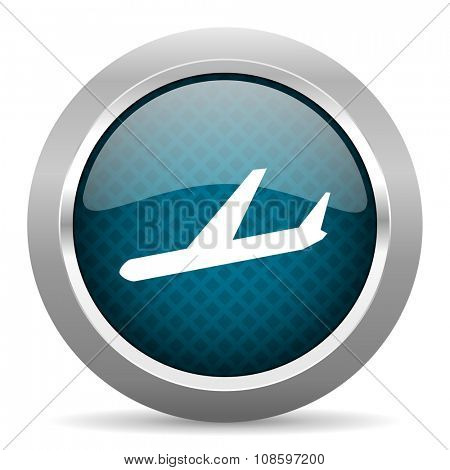 arrivals blue silver chrome border icon on white background