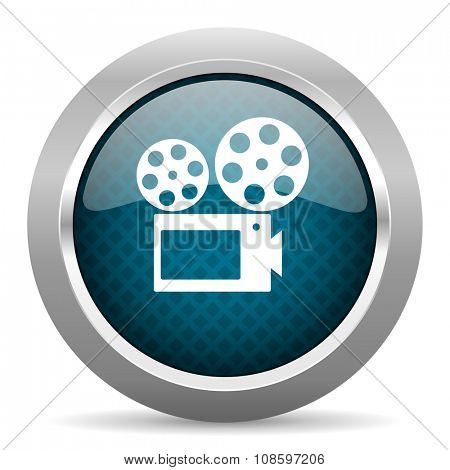movie blue silver chrome border icon on white background