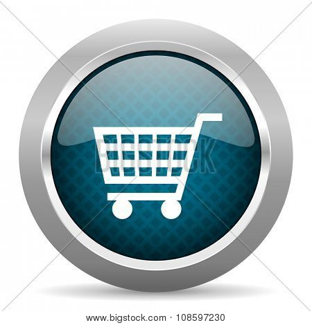 cart blue silver chrome border icon on white background