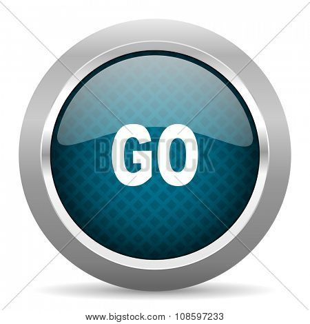 go blue silver chrome border icon on white background