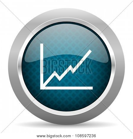chart blue silver chrome border icon on white background