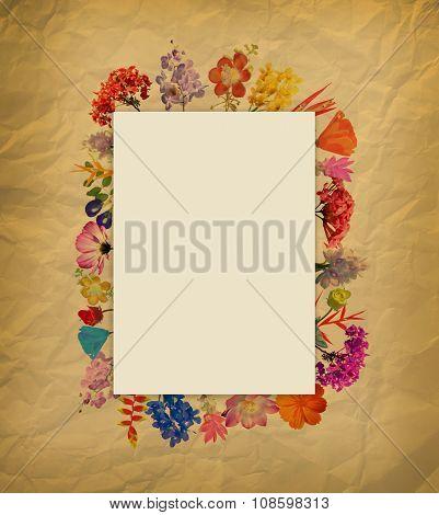 Arrangement Watercolor Flower Frame On Brown Paper
