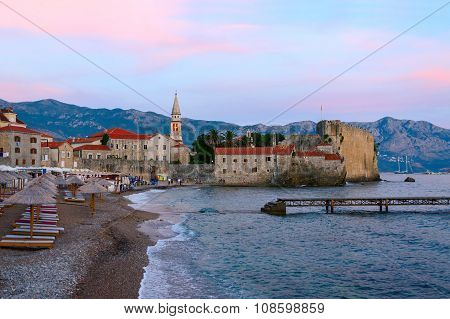 Evening View Of The Beach At The Old Town Of Budva, Montenegro