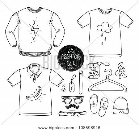 Hand drawn clothing set. Blank t-shirt, polo, sweater, and accessories . Casual style. Vector illust