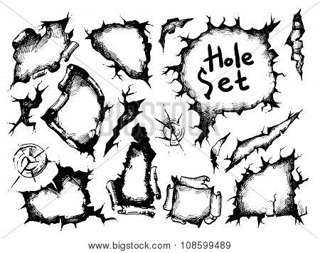sketch holes set