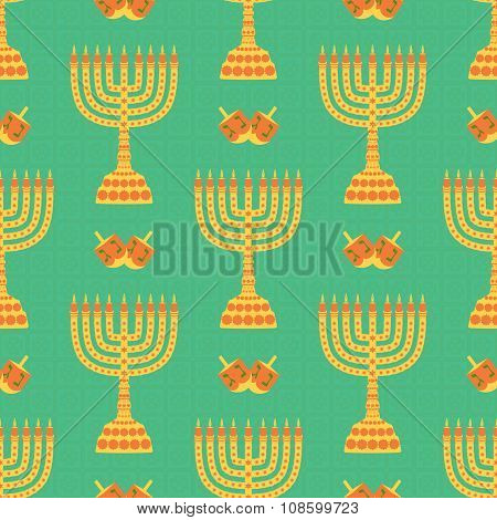 Hanukkah background with menorah, dreidels, candles. Beautiful seamless background