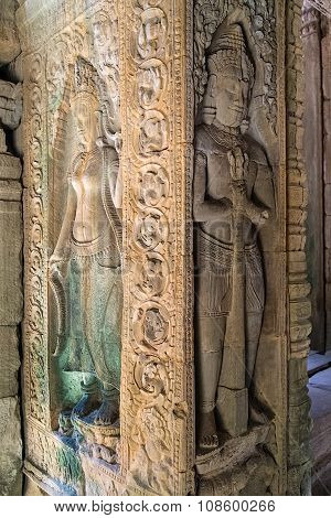 Bas-reliefs In Ta Prohm Temple Around Angkor Wat  Complex