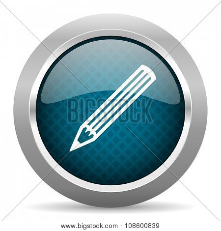pencil blue silver chrome border icon on white background