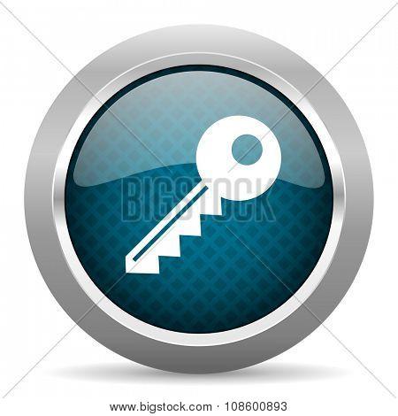 key blue silver chrome border icon on white background