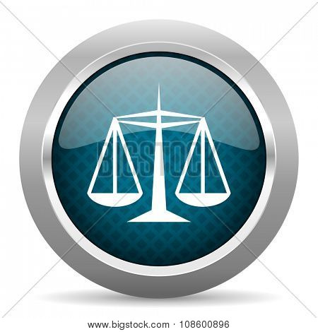 justice blue silver chrome border icon on white background