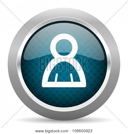 person blue silver chrome border icon on white background