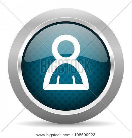 person blue silver chrome border icon on white background