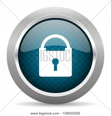 padlock blue silver chrome border icon on white background