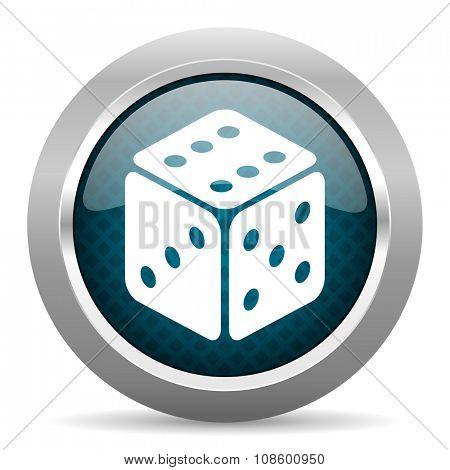 game blue silver chrome border icon on white background