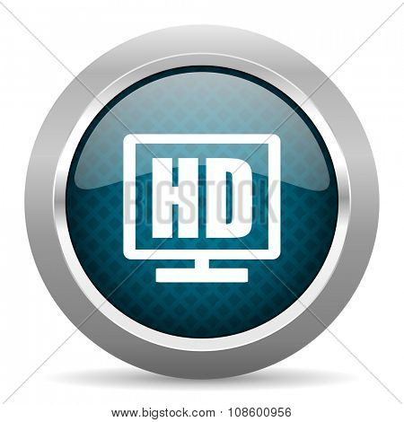 hd display blue silver chrome border icon on white background