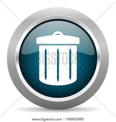 recycle blue silver chrome border icon on white background