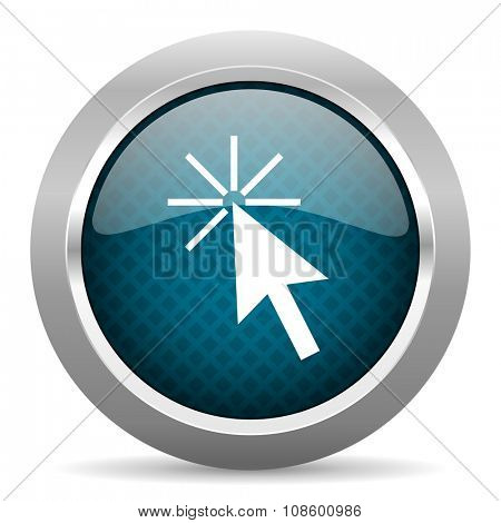 click here blue silver chrome border icon on white background