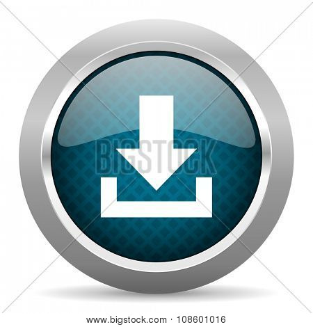 download blue silver chrome border icon on white background