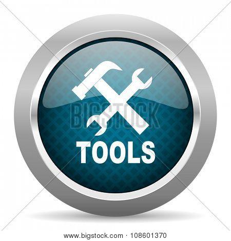 tools blue silver chrome border icon on white background