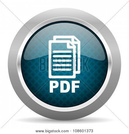 pdf blue silver chrome border icon on white background ,