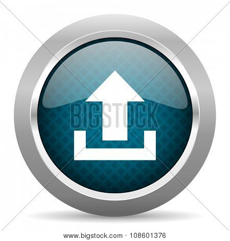 upload blue silver chrome border icon on white background