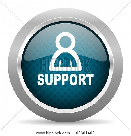 support blue silver chrome border icon on white background