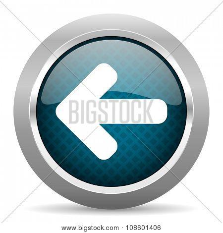 left arrow blue silver chrome border icon on white background