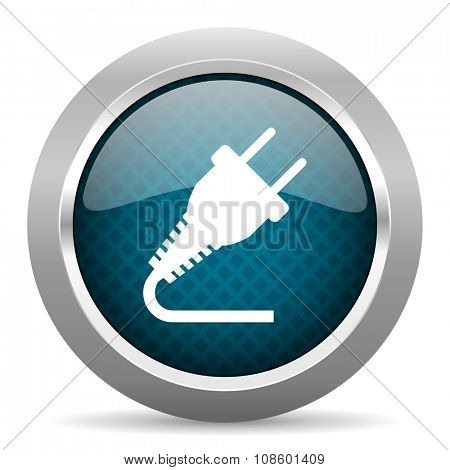 plug blue silver chrome border icon on white background