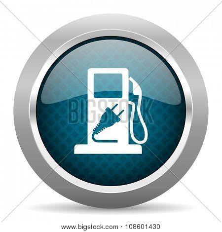 fuel blue silver chrome border icon on white background